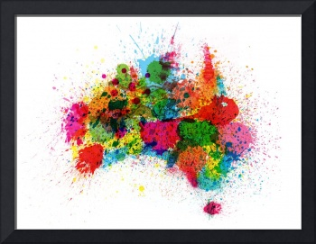 Australia Paint Splashes Map