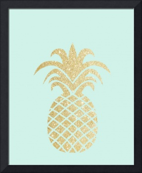 Gold Pineapple Mint Background