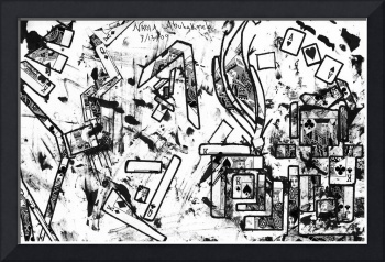 Abstract Card Design Black & White Drawing