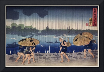Walking in a Rainstorm by Utagawa Kuniyoshi