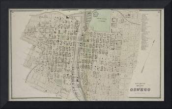 Vintage Map of Oswego NY (1867)