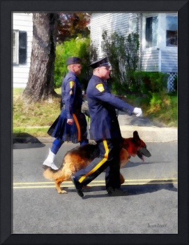 Policeman and Police Dog in Parade
