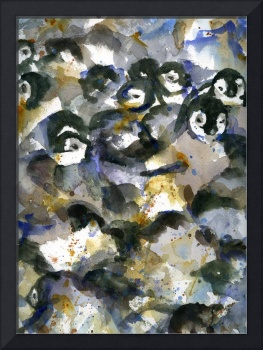 Penguin Nursery I, Abstract Watercolor Art