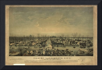 1850 Sacramento, CA Panoramic Map after FLOOD