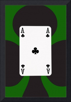 Playing Cards Ace of Clubs on Green Background