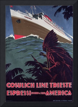 Cosulich Line Vintage Italian Travel Poster