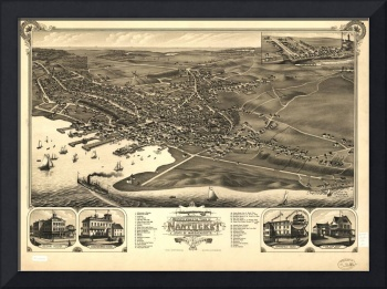 1881 Nantucket, MA Birds Eye View Panoramic Map