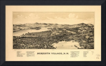 Vintage Pictorial map of Meredith New Hampshire (1