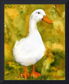 Just Duckie, White Duck watercolor