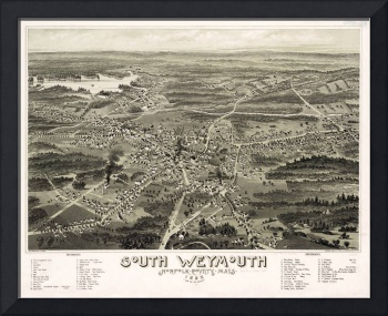 Vintage Pictorial Map of South Weymouth MA (1885)
