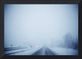 Blizzard over a highway