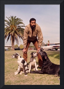 Wilt Chamberlain with dogs