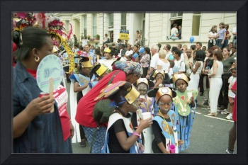 Carnival kids, Group scene in colour photography.