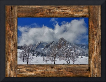 Snowy Boulder Flatirons Rustic Wood Window View