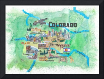 USA Colorado State Travel Poster Illustrated Art M