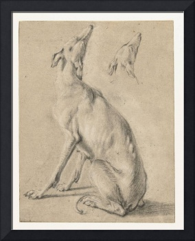 A sitting dog and the head of a dog, Frans Snijder
