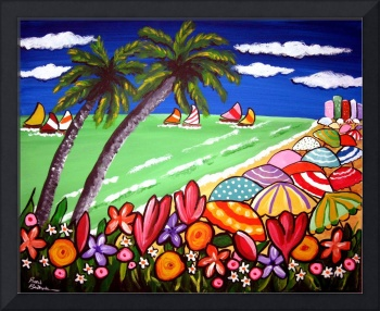 Beach Umbrellas and Flowers