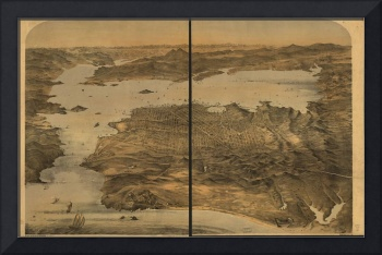 1868 San Francisco, CA Bird's Eye View Panoramic M
