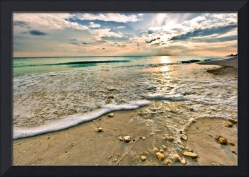 Shell Covered Beach Sunset Print Landscape Art