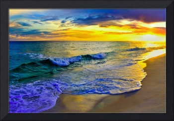 Yellow Sunset Beach Shore Fine Art Giclee Prints