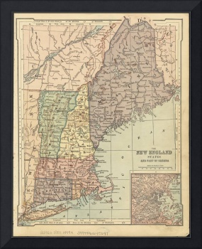 Vintage Map of New England (1880)