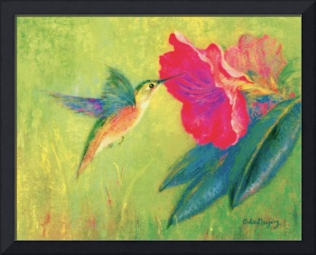 Hummingbird and Rhodie Flower