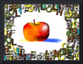 apple with letter border