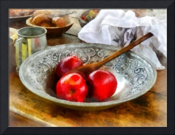 Apples in a Silver Bowl