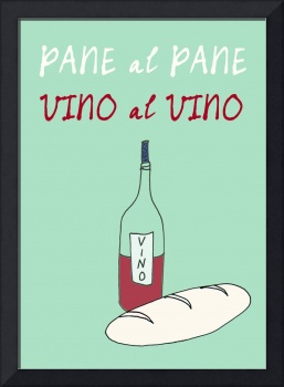 Italian kitchen art poster vino pane quote