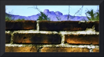 Panorama Brick Wall and Mountain Range