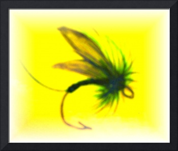 Abstract fly fishing silhoutte