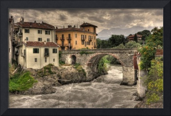 dora baltea and old bridge in ivrea - hdr