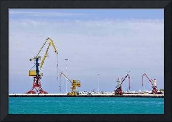 Cranes, loading equipment, port of Heraklion.
