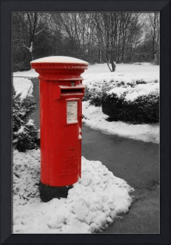 Traditional red British post box