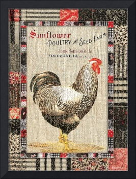 Country Farmhouse Style Chicken Grain Sack Vintage