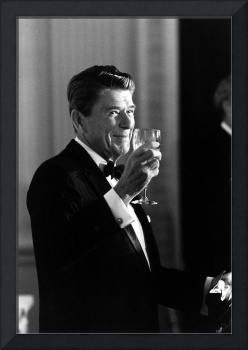 President Ronald Reagan making a toast
