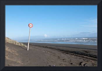 Speed sign on the Beach