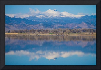 Colorado Longs Peak Circling Clouds Reflection