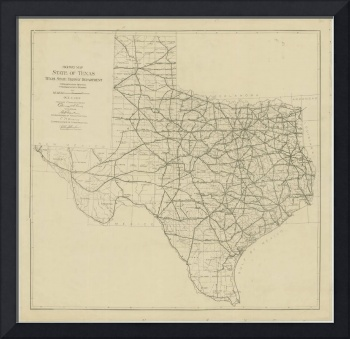 Vintage Map of The Texas Highway System (1919)