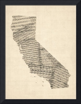 Old Sheet Music Map of California