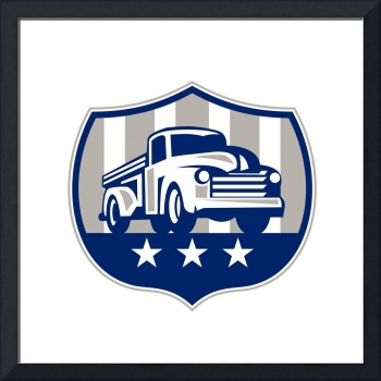 Vintage Pick Up Truck USA Flag Crest Retro