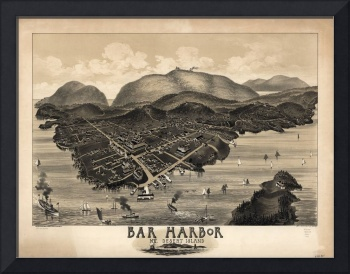 1886 Bar Harbor, ME Bird's Eye View Panoramic Map