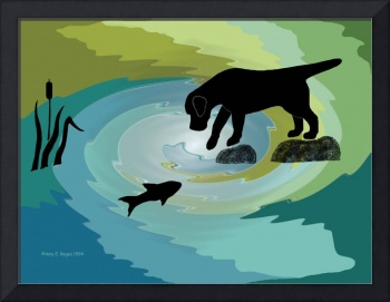 Black Lab Dog Fishing Digital Painting