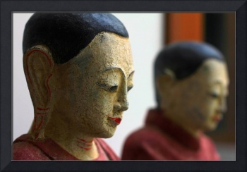Wooden Thai Buddhist Monk Statues