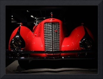 Classic Red Cadillac Grille