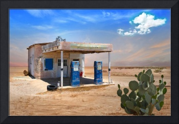 Old Gas Station in Desert