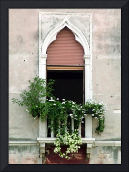 Ornate Window With Red Shutters