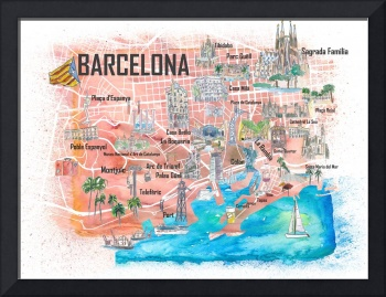 Barcelona Illustrated Travel Map with Main Roads,