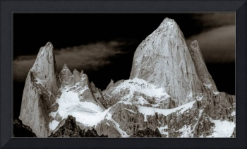 Mount Fitzroy in black white, Argentina, Patagonia
