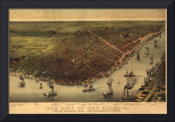 1885 New Orleans, LA Bird's Eye View Panoramic Map